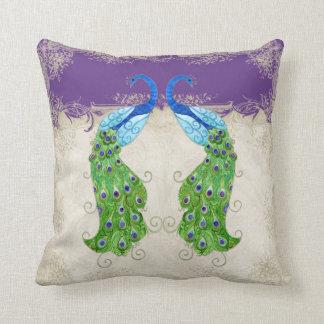Art Deco Style Peacock Purple n Cream Vintage Lace Throw Pillow