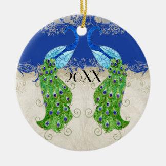 Art Deco Style Peacock Royal Blue Vintage Lace Ceramic Ornament
