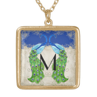 Art Deco Style Peacock Royal Blue Vintage Lace Gold Plated Necklace