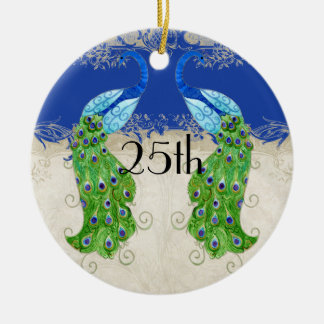 Art Deco Style Peacock Royal Blue Vintage Lace Double-Sided Ceramic Round Christmas Ornament