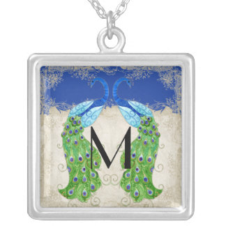 Art Deco Style Peacock Royal Blue Vintage Lace Silver Plated Necklace