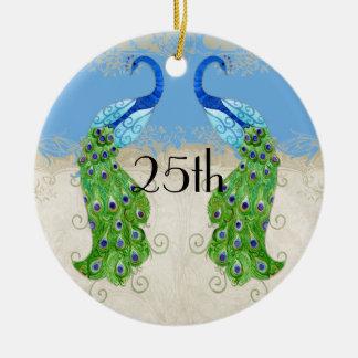 Art Deco Style Peacock Sky Blue Vintage Lace Ceramic Ornament