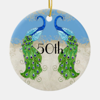 Art Deco Style Peacock Sky Blue Vintage Lace Double-Sided Ceramic Round Christmas Ornament