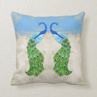 Art Deco Style Peacock Sky Blue Vintage Lace Throw Pillow