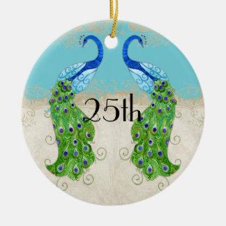Art Deco Style Peacock Turquoise Vintage Lace Ceramic Ornament