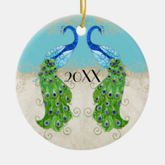 Art Deco Style Peacock Turquoise Vintage Lace Double-Sided Ceramic Round Christmas Ornament