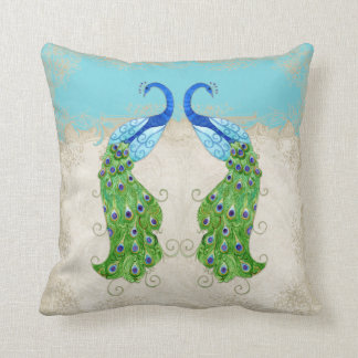 Art Deco Style Peacock Turquoise Vintage Lace Throw Pillow