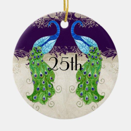 Art Deco Style Peacock Vintage Lace Dark Purple Ceramic Ornament