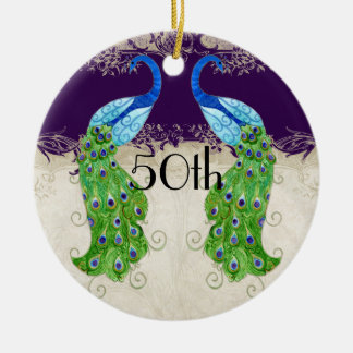 Art Deco Style Peacock Vintage Lace Dark Purple Double-Sided Ceramic Round Christmas Ornament