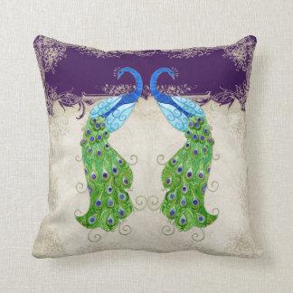 Art Deco Style Peacock Vintage Lace Dark Purple Throw Pillow