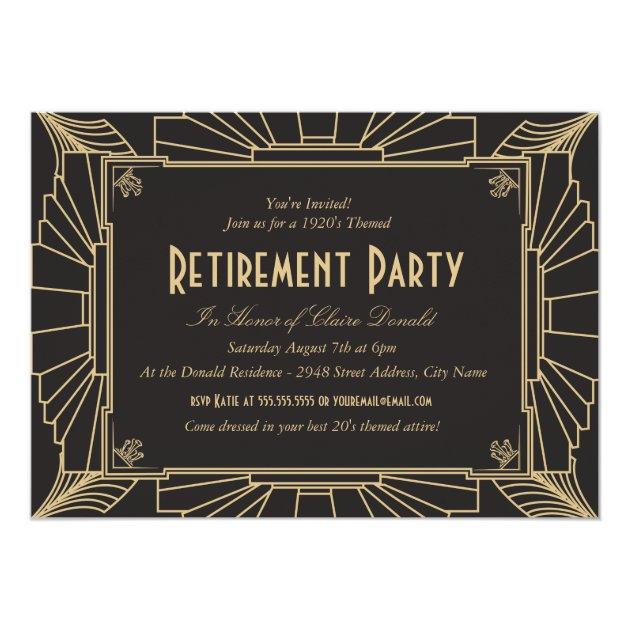 Art Deco Style Retirement Party Invitation
