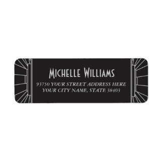 Art Deco Style Return Address Labels (Silver)