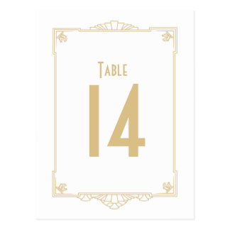 Art Deco Style Table Numbers Postcards