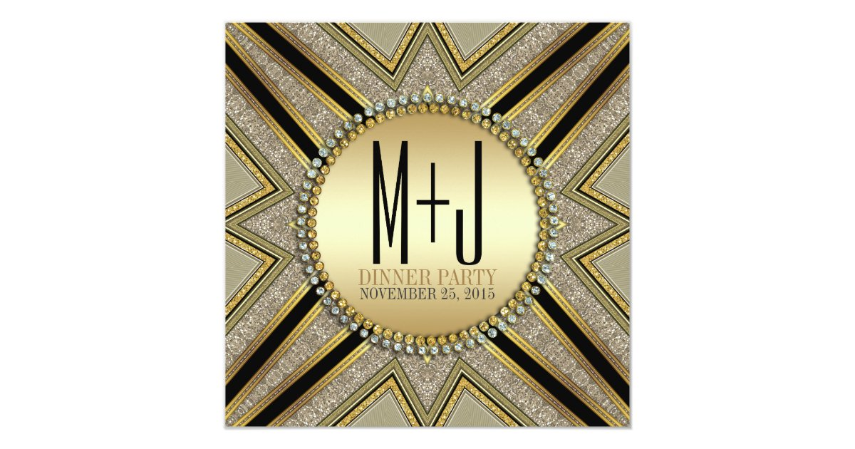 Art deco style taupe gold dinner party invitation zazzle - Deco taupe ...