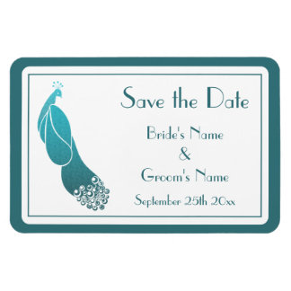 Art Deco Style Teal Peacock Save the Date Magnet