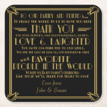 Art deco style wedding favor coaster