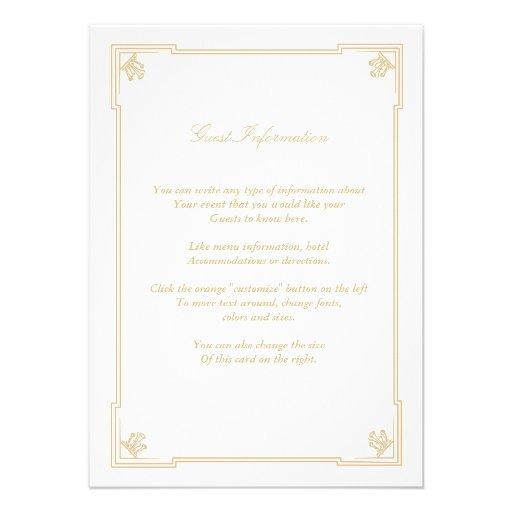 Art Deco Style Wedding Insert Card