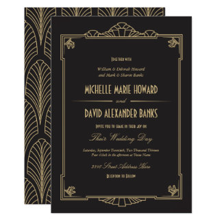 High Quality Art Deco Style Wedding Invitation