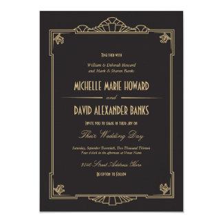 "Art Deco Style Wedding Invitation 5"" X 7"" Invitation Card"