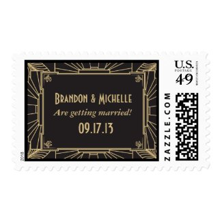 Art Deco Style Wedding Postage Stamps