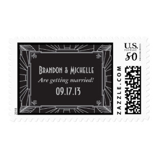 Art Deco Style Wedding Postage Stamps (Silver)