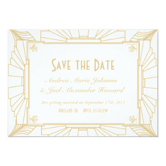 "Art Deco Style Wedding Save the Date 5"" X 7"" Invitation Card"