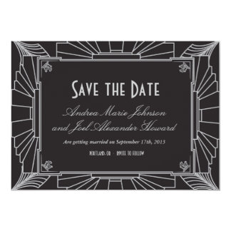 Art Deco Style Wedding Save the Date (Silver) Card