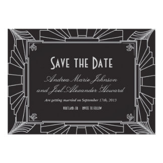 Art Deco Style Wedding Save the Date (Silver) Personalized Announcement