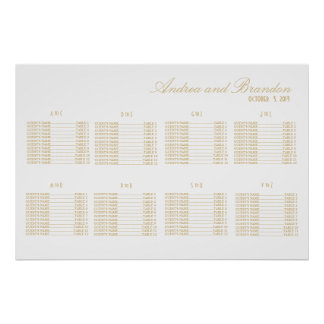 Art Deco Style Wedding Seating Chart Poster