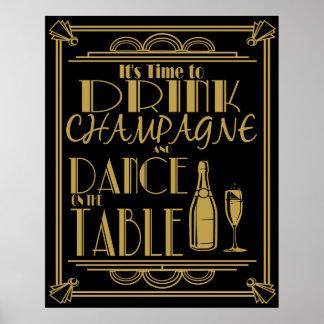 Art déco su hora de beber el champán póster