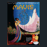 """Art Deco Summer Blossoms for Mavis 1920s Poster<br><div class=""""desc"""">Beautiful image by illustrator, Fred L. Parker &quot;Irresistible.&quot; A perfume ad for the Mavis perfume and talcum fragrance collection. A perfect print for framing, or sweet memorabilia for the lover of the Art Deco era! &quot;Even in January days, Mavis brings you the fragrance of summer blossoms~&quot;. Mavis was a very...</div>"""