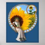 Art Deco Sunflower Fairy Poster
