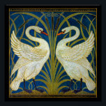 """Art Deco Swans Poster<br><div class=""""desc"""">Pair of art deco swans in the reeds and water.</div>"""
