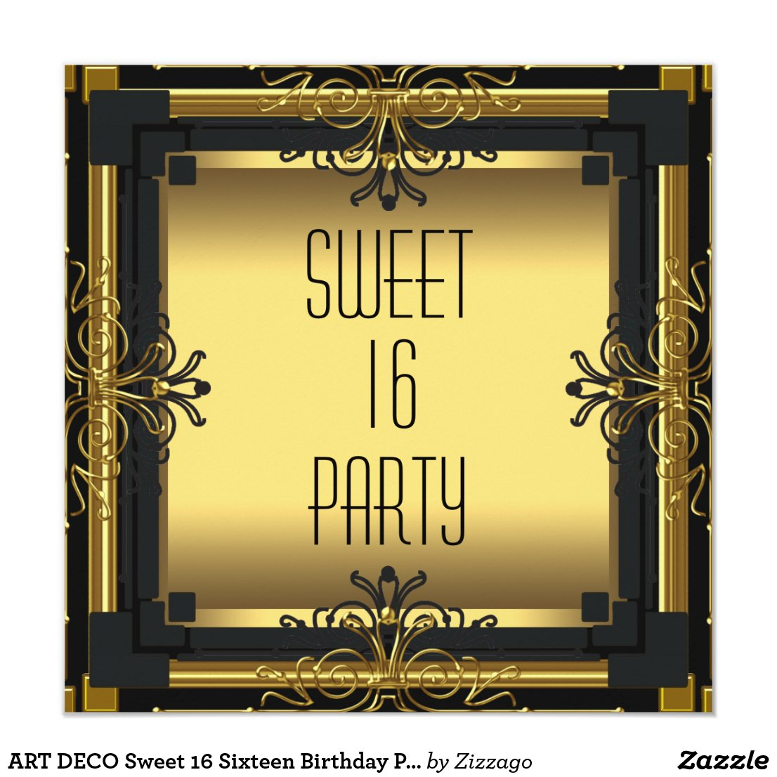 ART DECO Sweet 16 Sixteen Birthday Party Card