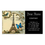 Art Deco swirls butterfly Eiffel Tower Paris Double-Sided Standard Business Cards (Pack Of 100)