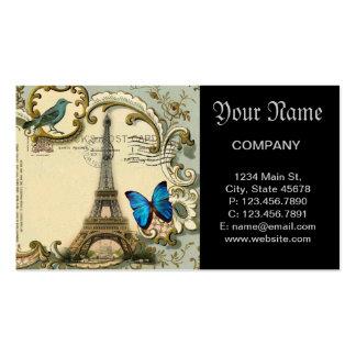 Art Deco swirls butterfly Eiffel Tower Paris Business Card Template
