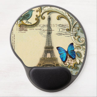 Art Deco swirls butterfly Eiffel Tower Paris Gel Mouse Mats