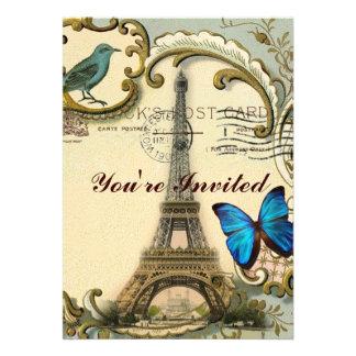 Art Deco swirls butterfly Eiffel Tower Paris Personalized Invitation