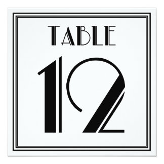 Art Deco Table Number 12 5.25x5.25 Square Paper Invitation Card