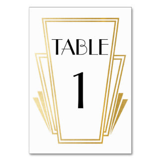 Art Deco Table Number 20s Gold White Wedding