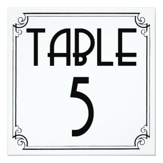 Art Deco Table Number 5 Custom Announcement