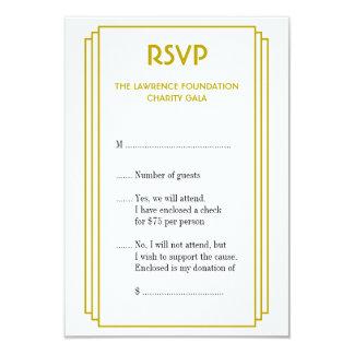 Art Deco tan stacked frame gold RSVP response Card