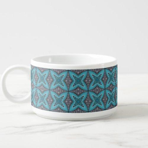 Art Deco Teal Black White Graphic Pattern Chili Bowl