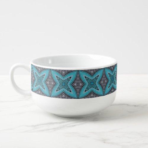 Art Deco Teal Black White Graphic Pattern Soup Mug