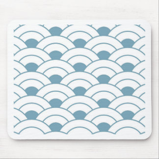 Art deco,teal,white,vintage,shell pattern,1920 era mouse pad