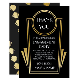 Art Deco Thank You 20s Engagement Wedding Cards