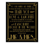 Art Deco Thank You table wedding signs Posters