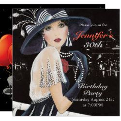 Art Deco Thirtieth Birthday Invitation