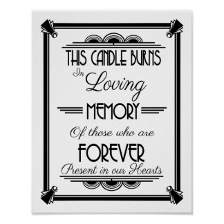 ART DECo, THIS Candles burns in loving memory Poster