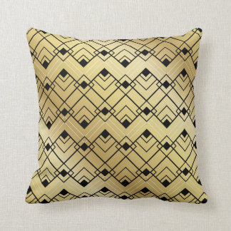 Art Deco Throw Pillow Black and Gold